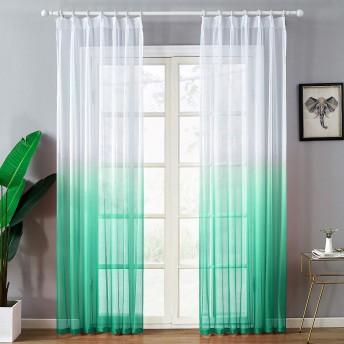 Topfinel レースカーテン 北欧風 UVカット(紫外線) 遮熱 グラデーション色 濃いグリーン 多彩 幅150x丈190cm 1枚入り