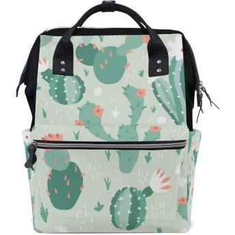 ママバッグ マザーズバッグ リュックサック ハンドバッグ 旅行用 カクタスの花 緑 ファション
