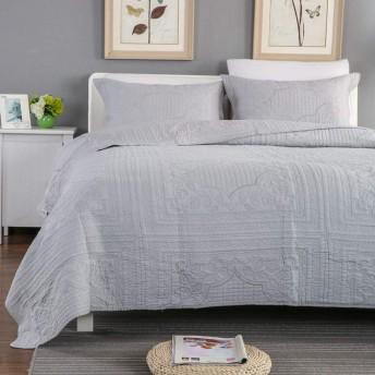 ベッドカバーダブルキングサイズ3ピースセットキルティングプレーン刺繍スタイル掛け布団掛け布団/ベッドカバースロー寝具,Grey-250X270cm