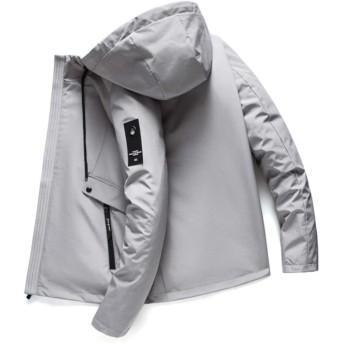 HGMY ジャケット ブルゾン メンズ コート フード付き 防風防寒 無地 カジュアル 軽量 アウトドア 秋冬春