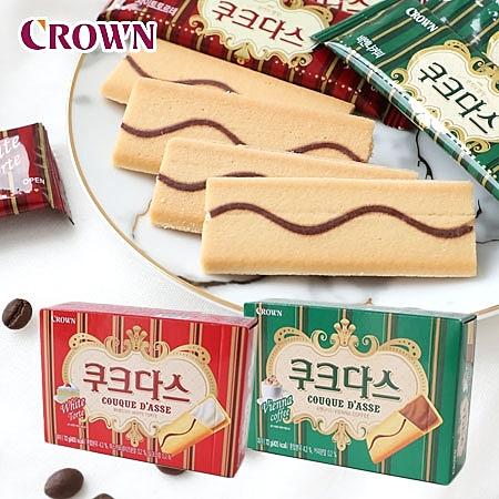 韓國 CROWN 法式薄燒夾心餅 72g 夾心薄餅 夾心餅乾 餅乾 夾心餅 韓國餅乾