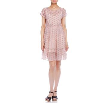 【85%OFF】フラワープリント シフォン 半袖ドレス インナー付 ピンク 40