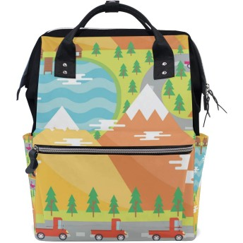 LALATOP 山の風景プリント おむつ バックパック 旅行用 ママおむつバッグ 大容量 多機能 スタイリッシュ 耐久性 看護バッグ Lサイズ マルチカラー