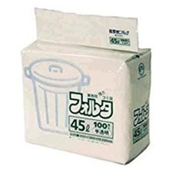 ゴミ袋フォルタ 半透明(100枚入)45L F-4H 【商品コード】8542510