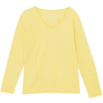 (パークガール)PARK GIRL 綿100% フライス 素材 無地 Vネック 長袖 Tシャツ レディース 大きいサイズ S/M/L/LL/3L 5628300000 (S, クリームイエロー)