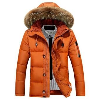 ダウンコート メンズ ショート丈 かっこいい 厚手メンズ コート 軽い ダウンジャケット フード付き 防寒 上品 秋冬 メンズ アウター ブルゾン (M, オレンジ)