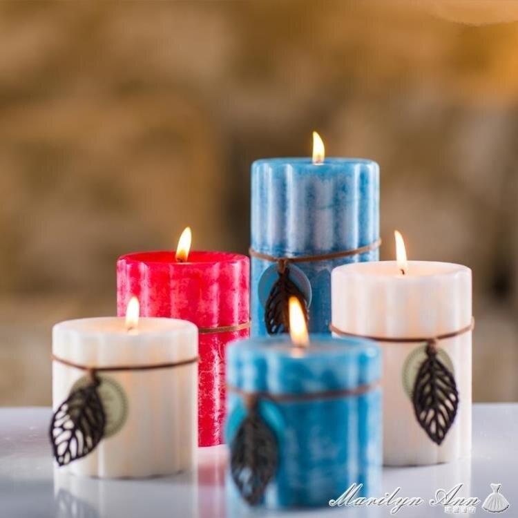 精油香薰蠟燭浪漫歐式柱豆蠟無煙香氛蠟燭家用