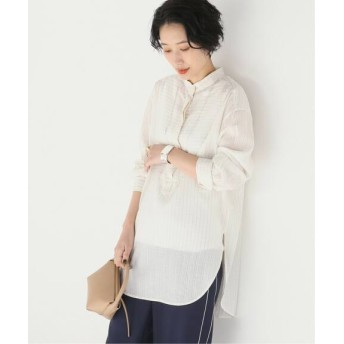 JOURNAL STANDARD 【NEU】シアーキュプラストライプスタンドシャツ ホワイト フリー