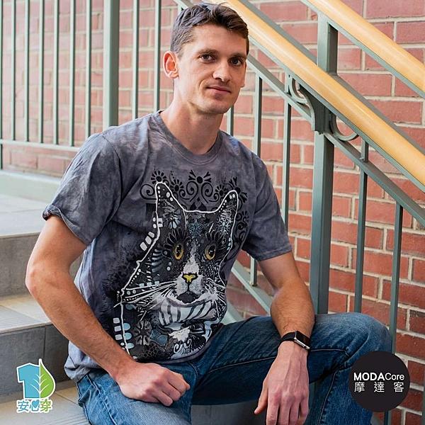 摩達客-預購-美國進口The Mountain 花紋凝視貓 純棉環保藝術中性短袖T恤