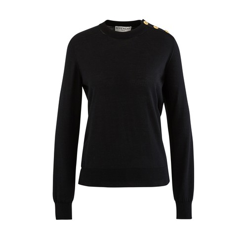 Round neck jumper with buttons
