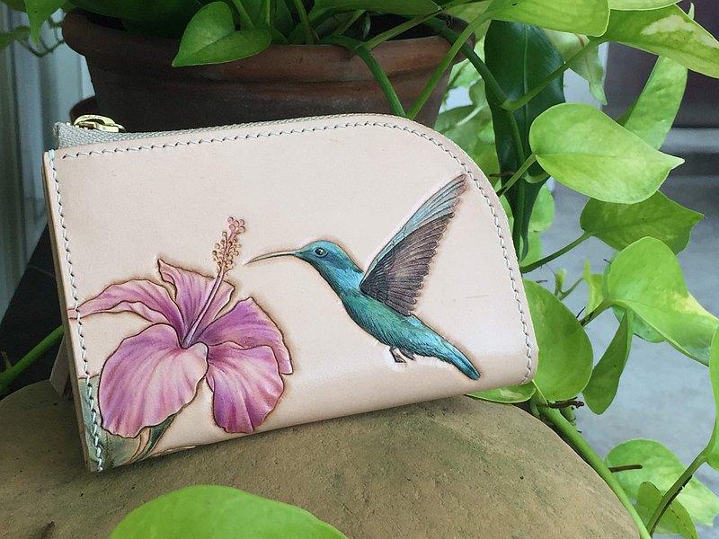蜂鳥與木槿花 皮雕短錢包 / 客製英文字雕刻