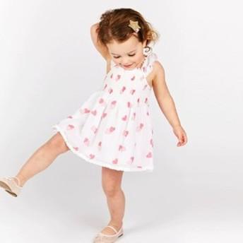 ワンピース ノースリーブ 袖なし ハート柄 総柄 フリル ギャザー フレアワンピース 膝上 かわいい ガーリー キッズ 子供服 女の子 ガール
