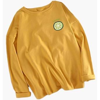 [ミケディ] レディース tシャツ レモン 長袖 綿 ゆったり ワンポイント シンプル 背中 無地 かわいい イエロー XXL