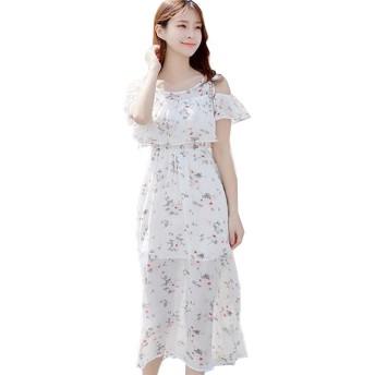 Wanghongシフォン 肩出し ワンピース レディース 花柄 ドレス マキシ オフショル ワンピ パーティー ドレス デート フレア きれいめ