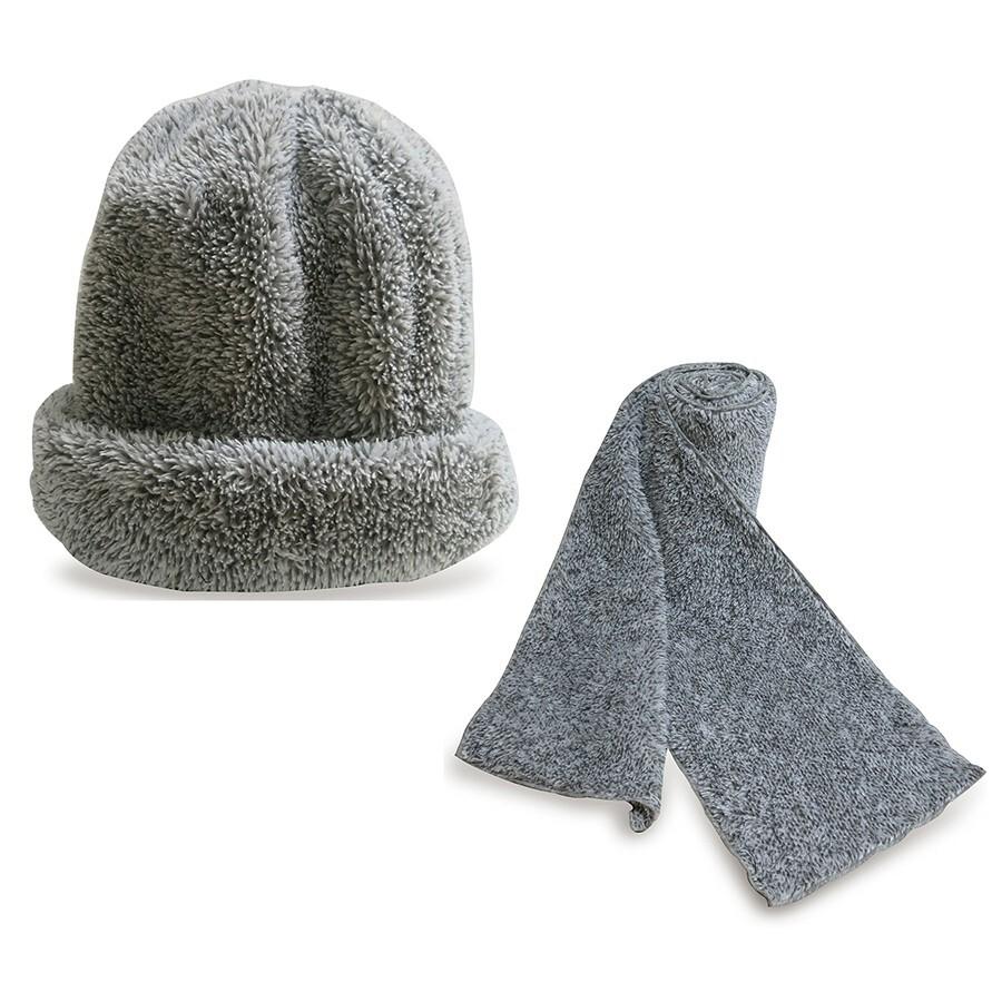 皇家竹炭竹炭珍珠絨帽子圍巾組(蓄熱禦寒超保暖)