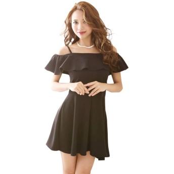 (リューユ)Ryuyu キャバ ドレス キャバドレス キャバクラ ミニドレス パーティードレス RyuyuChick フリル オフショル 無地 Aラインミニドレス 502451 M(130) ブラック(100)