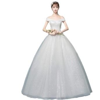 ウェディングドレス オフショルダーVネック光沢のあるグリッターボールガウンの花嫁衣装のウェディングドレス花嫁のドレスQuinceaneraのドレス 結婚式に最適 (色 : Ivory, Size : XL)