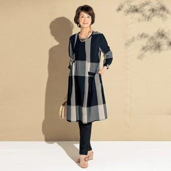 ゆったり ワンピース レディース 春 夏 / ビッグチェックゆったりワンピース / 50代 60代 70代 80代 ミセスファッション シニアファッション 婦人 服