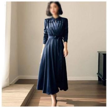 JIANYI JP 膝のレトロなドレスの上の春の美しさの女性 (Color : Blue, Size : 2XL)