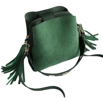 BSCOOL レディースショルダーバッグフリンジかわいい韓国のスタイルのトートバッグは斜め掛けバッグ招待パーティハンドバッグトレロ(緑) フリーサイズ グリーン