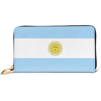 Argentina Flagアルゼンチンの国旗 プレミアムレザーと 金属ジップレザー財布、ファッションレディースウォレットクレジットカードスロットダークリアルレザーウォレット快適で丈夫な防水レザー