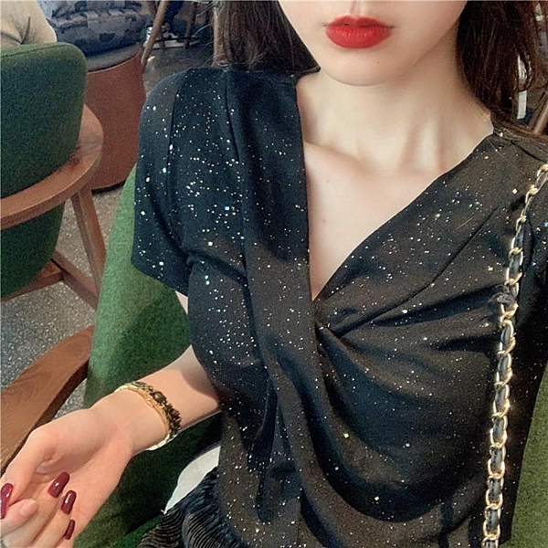 短袖T恤 夏裝新款韓版chic修身顯瘦亮閃閃V領短袖T恤性感扭結打底衫上衣女