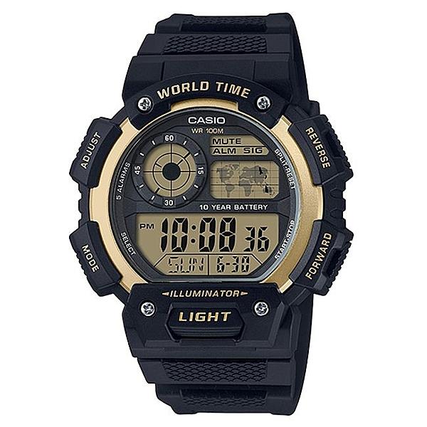 CASIO 卡西歐 10年電力新系列多功能數位錶 黑X金 AE-1400WH-9A