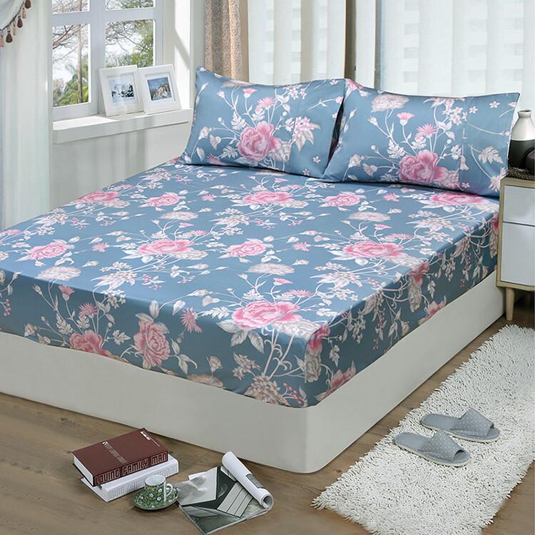 FITNESS 精梳棉雙人加大床包枕套三件組 粉妝輕抹 藍灰