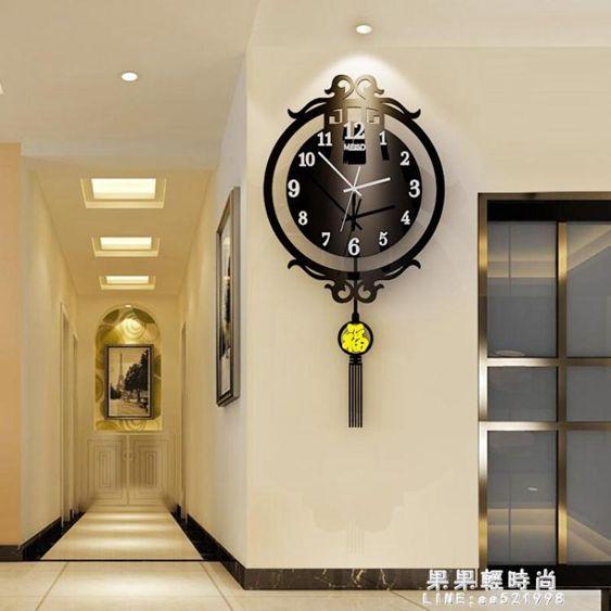 新中式鐘表掛鐘客廳現代簡約創意個性時尚中版風靜音大氣家用時鐘