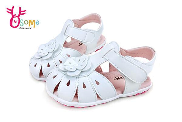 小童真皮涼鞋 台灣製造 立體花朵氣質款學步涼鞋G6236#白◆OSOME奧森鞋業