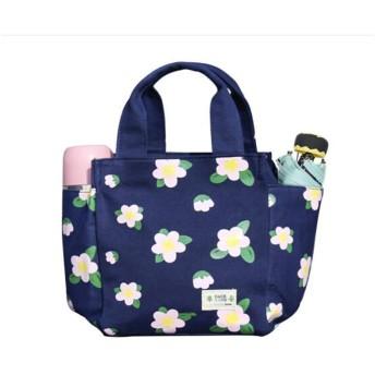 ランチボックスバッグ、中国のポータブルキャンバスバッグ、学校の大きなポータブルランチボックスバッグ、屋外ミイラバッグ韓国のランチランチバッグ、サイドポケット (Color : Big flower)