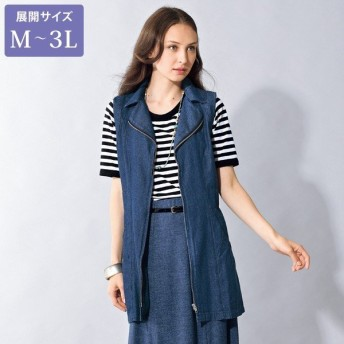 デニムロングベストアンサンブル / 大きいサイズ M L LL 3L / 40代 50代 60代 70代 ファッション シニア ミセス レディース 婦人服 デニム ベスト Tシャツ