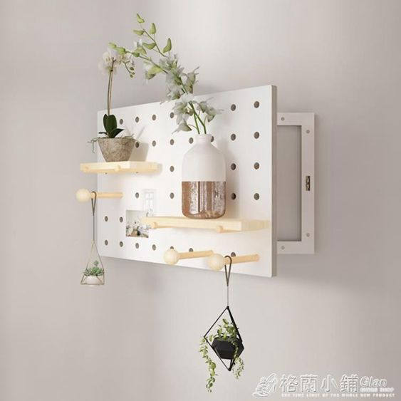 電錶箱洞洞板遮擋盒木質裝飾實木置物架掛鉤電閘盒配電箱