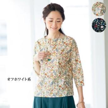 花柄キーネックブラウス / 40代 50代 60代 70代 ファッション シニア ミセス レディース 婦人服