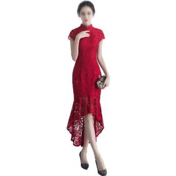 ファッション中国の赤いチャイナドレスレース刺繍ロング人魚のイブニングフォーマルドレス (色 : ワインレッド, サイズ : XL)
