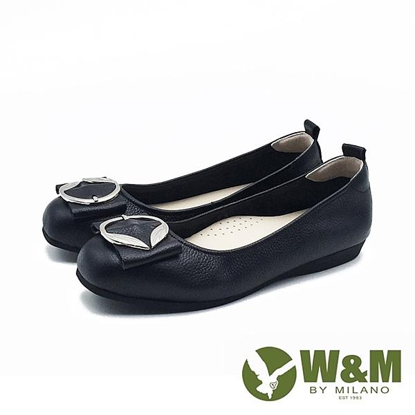 W&M 方頭葉形銀釦娃娃鞋平底鞋女鞋 -黑(另有灰米色)