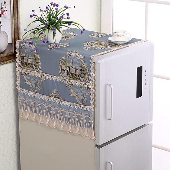 歐式冰箱蓋布防塵罩冰箱巾對雙單開門冰箱罩洗衣機套萬能多用蓋巾lh968