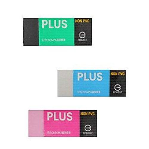 【哇哇蛙】(20入) 普樂士 PLUS NON-PVC繽紛環保橡皮擦(標準) (36-460白/36-461黑/36-462粉)
