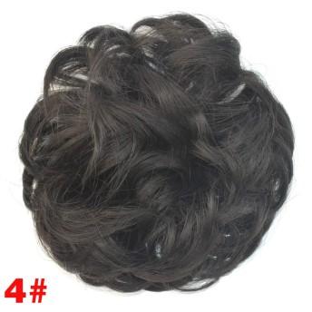 ヘアピース かつらドーナツヘアパンリング カーリーシニョンゴムバンド付き 耐熱性 女性用ヘアピース ブルー 人気 甘い 軽い 耐熱 つけ毛 wig,#4