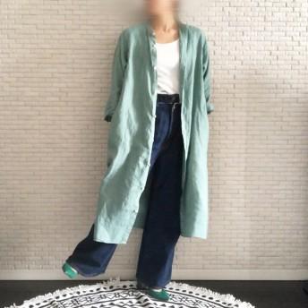 Newカラー☆後染め彩る上質リネン100%☆シャツワンピース【スモーキーグリーン】