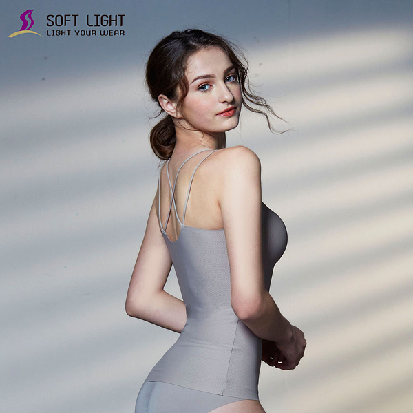 【SOFT LIGHT】「沁涼無痕」雙肩帶X型性感BRA背心(鐵灰)