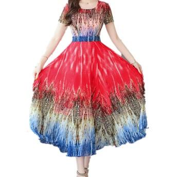 花柄 ワンピース レディース 夏 ロングワンピース 大きいサイズ 丸首 ドレス 半袖 文芸風 上品 通勤 きれいめ 上品