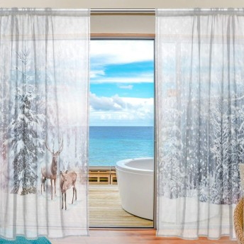 旅立の店 カーテン レースカーテン クリスマス 鹿柄 冬の雪 半遮光 おしゃれ 薄い 遮熱UVカット通気 ポリエステル ホーム装飾 間仕切り 洗濯可能 200cmx140cmx2枚