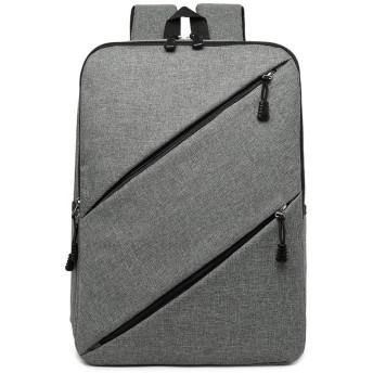 16インチキャンバスオックスフォード布旅行キャリングラップトップユニセックススクールバッグ防水バックパックケース-グレー-灰色