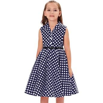 子供ドレス ポルカドット ラペルカラー ベルト付き ノースリーブ スイングワンピース ドレス ネイビー+ホワイトドット 145cm