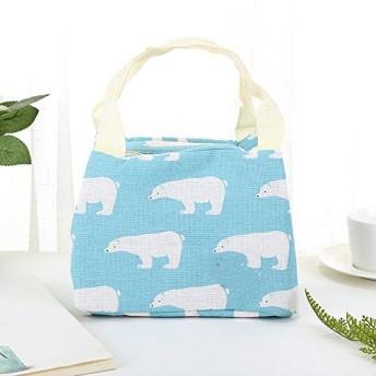 Cetengkeji ランチバッグ、かわいいポータブルランチボックスコットンクーラーバッグの厚さのジッパーバッグの防水 (Color : 1)