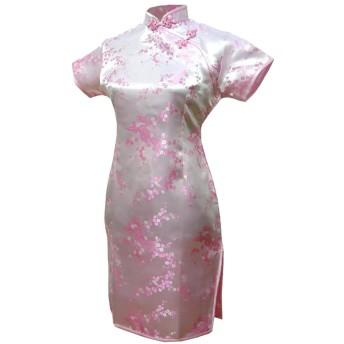 7Fairy レディース ピンク 淡紅色 チャイナ ドレス 旗袍 ミニ 花 サイズ JP 9