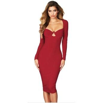 イブニングドレス 女性のVネックマキシ花嫁介添人フォーマルパーティードレスV長袖ボディコンドレススリットドレス (Color : Red, Size : L)