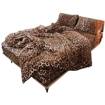 ベルベット フランネル羽毛布団カバーセット,超柔らかな冬の掛け布団カバー 厚い高級寝具 4 点セット クイーン キング-A Queen Size