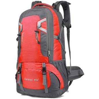 登山リュックサック アウトドア 大容量 防水 アウトドアハイキングキャンプ旅行オックスフォードマルチスポーツパックユニセックスバッグ/レッド/ 40L用防水バックパック 旅行 通学 男女兼用バッグ 収納性抜群